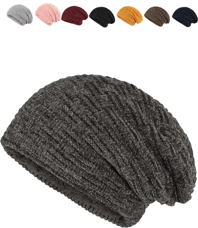 Damen Strick-Mütze Beanie gefüttert Fleece Innenfutter Winter-Mütze