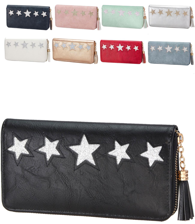 Damen Geldbörse Geldbeutel Brieftasche Portemonnaie Geldboerse Glitzer 20 x 10
