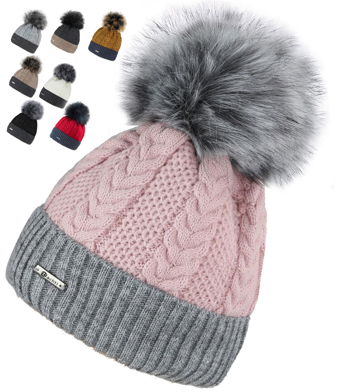79af0298ff38ef Details zu Winter Damen Mütze Beanie Kunstfell Bommelmütze Strickmütze  Fleece -zupa-2ton