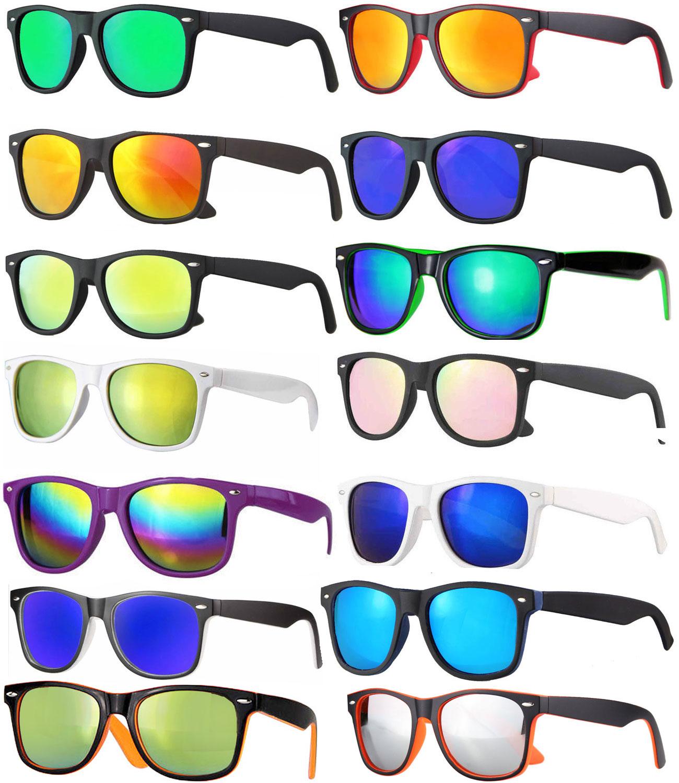 Flattop Nerd Brille Sonnenbrille schwarz rot blau gold grün verspiegelt 863 NEU